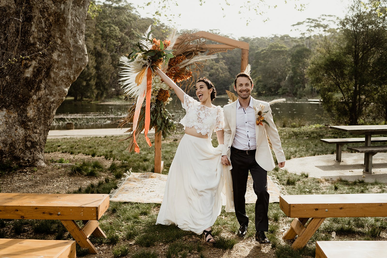 bohemian bride and groom